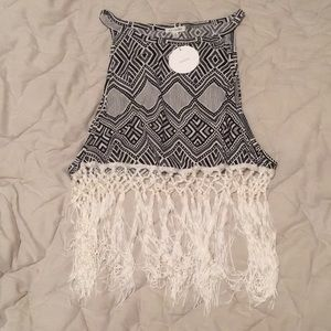 Crop top with crochet bottom